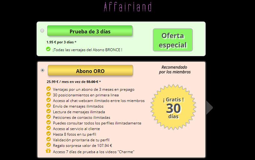 affairland precios